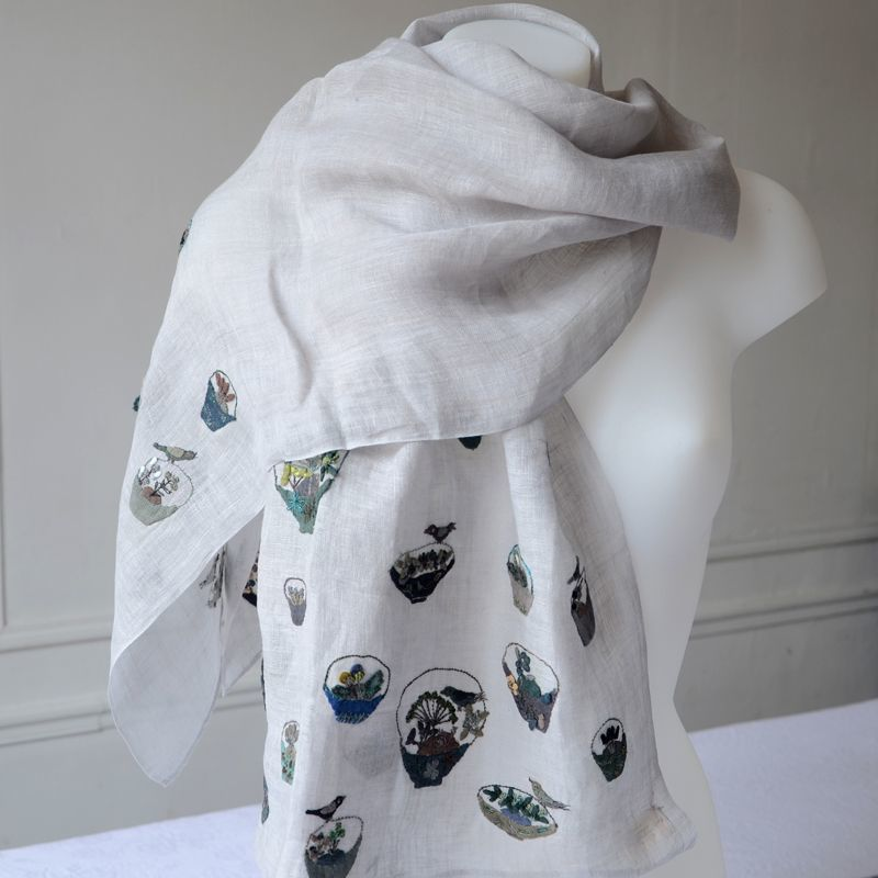New creation by Sophie Digad - hand embroidered stole on silver grey linen veil