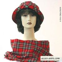 Matching duo hat and scarf red tartan