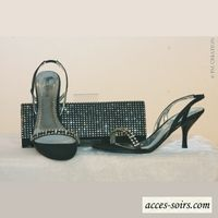 Matching clutch and evening shoes, black and rhinestones : size 37 only