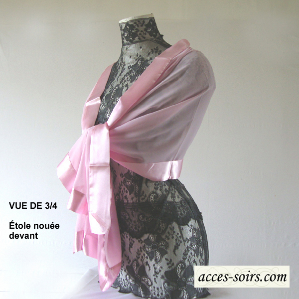 silk mousseline and satin wedding evening stole