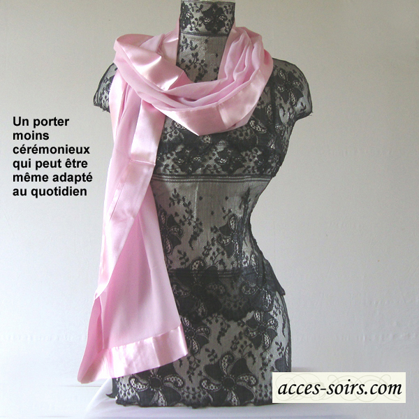 silk mousseline and satin stole