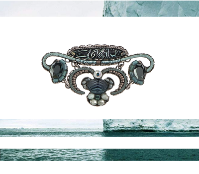 Ayala Bar brooch - ocean blue, icy grey