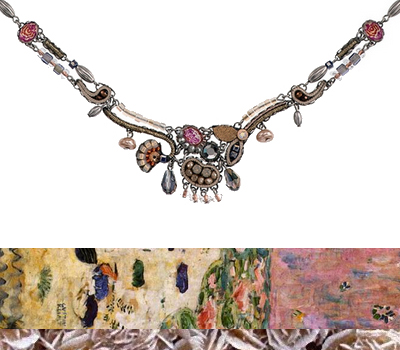 Collier Ayala Bar - rose, sable, perles