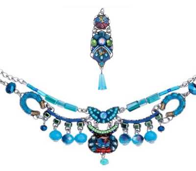 Turquoise jewel set necklace with earrings - Ayala Bar