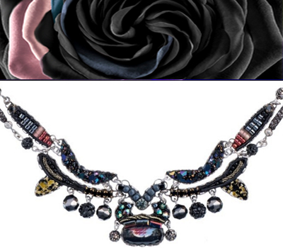 Ayala Bar necklace - black berries, light pink, dark blue
