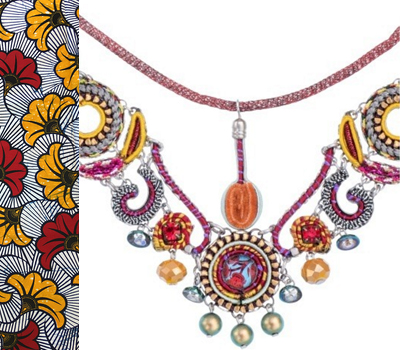 Ayal Bar jewel - necklace - red, purple, yellow, silver grey