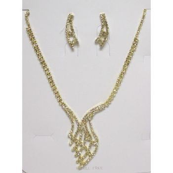 Collier boucle d'oreille strass