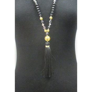 wooden necklace with pompon