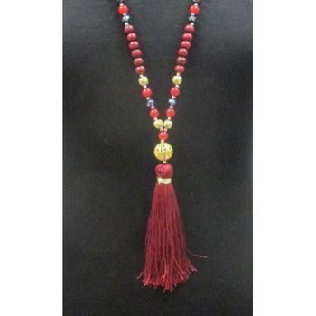 wooden ball necklace with tassel