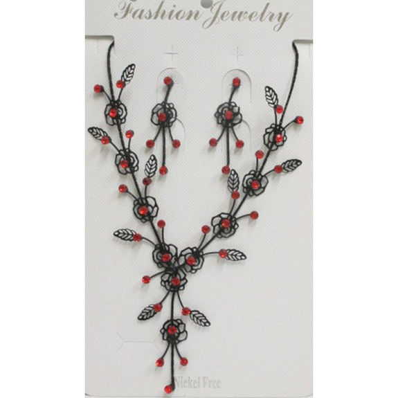 Woman's jewelry set lace red