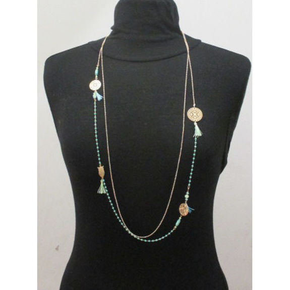 long necklace 2 rows pearls and watermark
