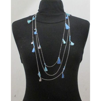 long pompom charms necklace in blue