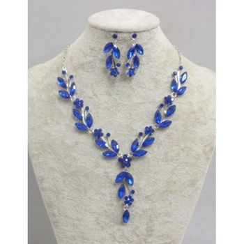crystal flower necklace set