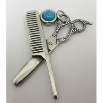 hairdresser jewelry scissors and comb