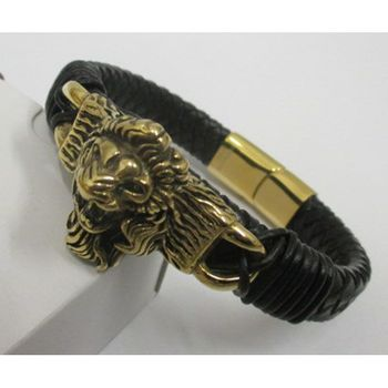 gold leather bracelet for men