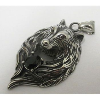 viking wolf pendant head with black steel stone