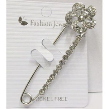 crystal flower safety pin