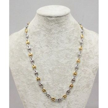two-tone coffee bean necklace steel