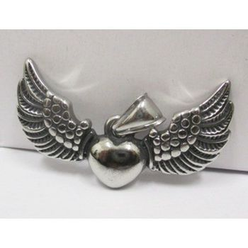 winged heart pendant in stainless steel