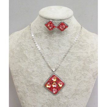 flower metal necklace in red