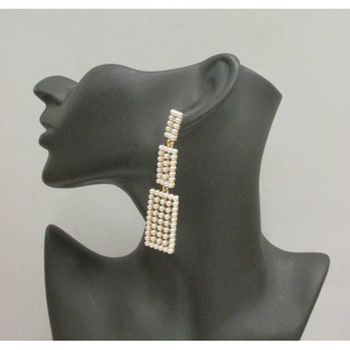 bijoux boucles oreille suite de rectangle mini perle