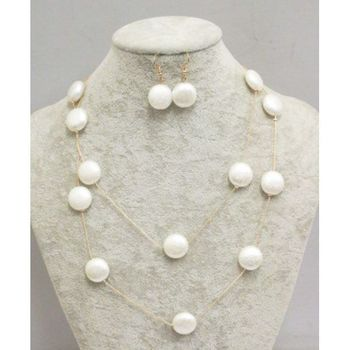 double chain necklace white pearl round or oval