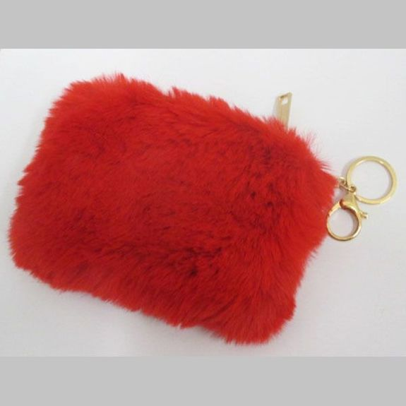 red faux fur coin purse
