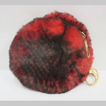 zipped small red fake fur purse