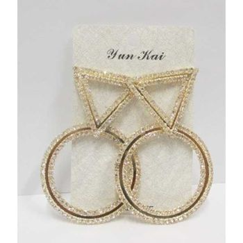gold rhinestone contour round earrings