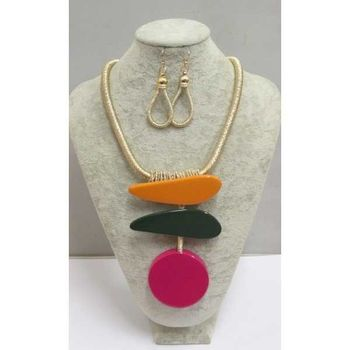 multicolored resin necklace