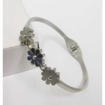 jewelry bracelet steel 3 flowers