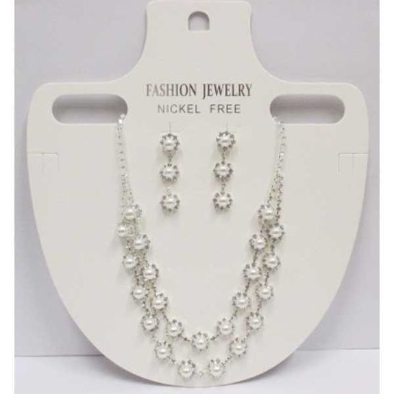 Wedding set earrings necklace crystal beads