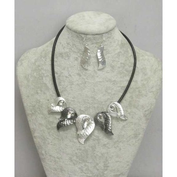 jewelry crystal metal cord necklace