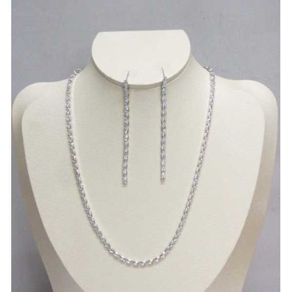 oval zircon chain necklace