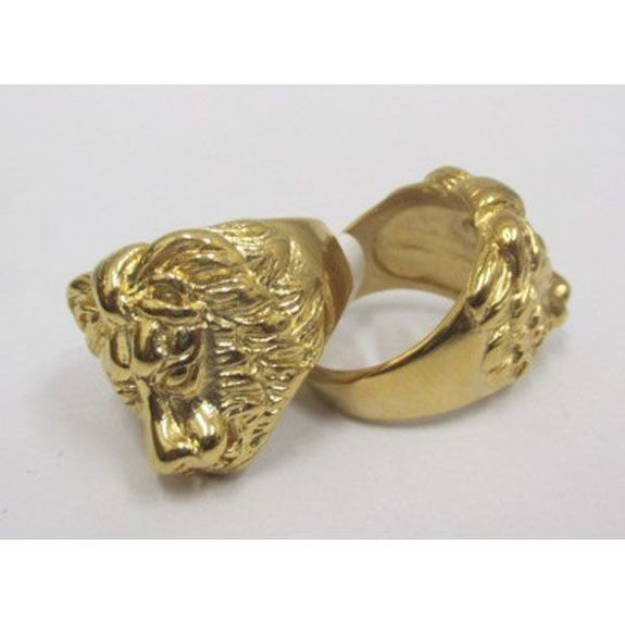 jewelry ring steel man lion head