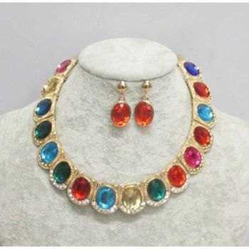 multicolored necklace fantasy jewelry woman