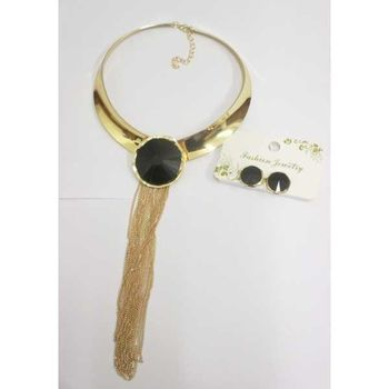 Necklace metal choker black stone fringe chains