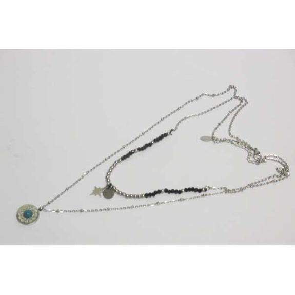 necklace double chain steel pendant mandala blue pearl