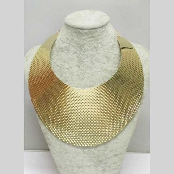 gold metal bib necklace