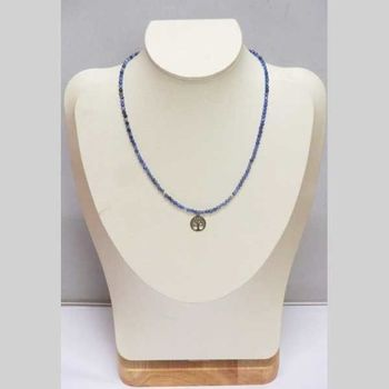 fine pearl necklace with steel tree of life circle