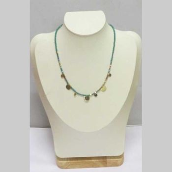 gold plated washers mounted on elastic pearl chain necklace