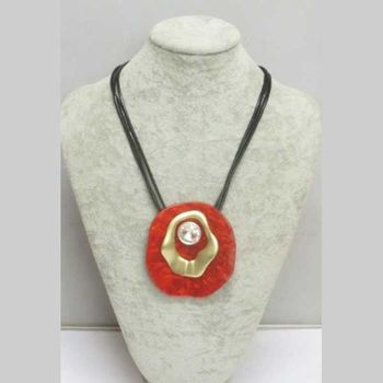 jewelry adjustable cord pendant red resin