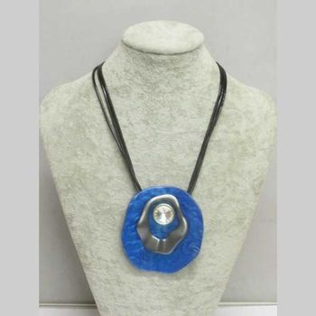 jewelry adjustable rope pendant blue resin