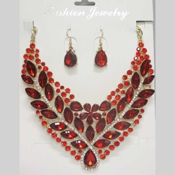 red crystal flower wedding set