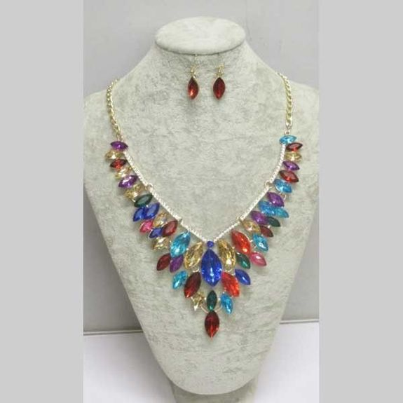 multicolored crystal earring necklace