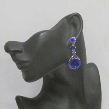blue golden crystal earrings