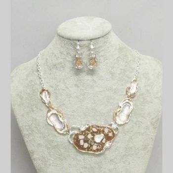 beige enamel bib necklace