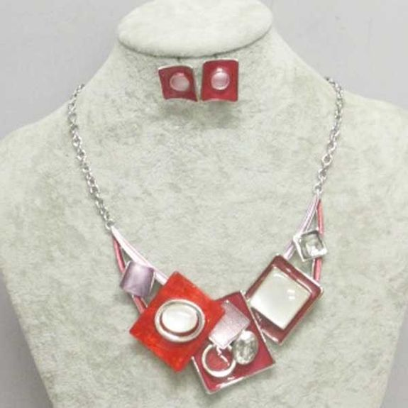 modern necklace adornment in red resin email