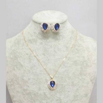 blue crystal necklace sold with earring