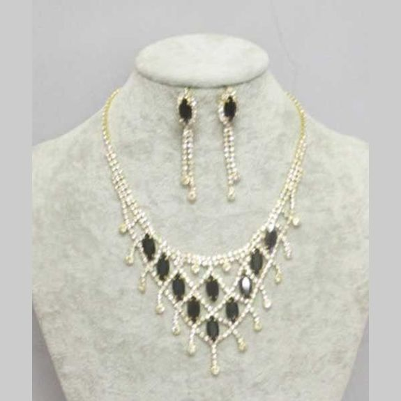 black crystal gold mesh jewelry